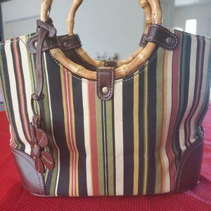 Relic Handbag - Stripes and Leather, like new
